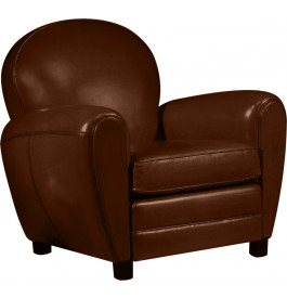 Fauteuil Club cuir basane chocolat dossier rond