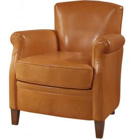 1075 - Fauteuil club Fredy droit cuir basane miel