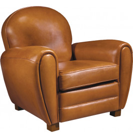 fauteuil club cuir basane caramel dossier rond. Black Bedroom Furniture Sets. Home Design Ideas