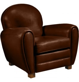 10763 - Fauteuil Club cuir basane chocolat dossier rond