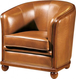 10769 - Fauteuil Cabriolet cuir basane caramel