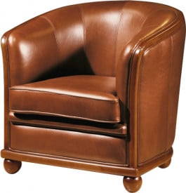 10771 - Fauteuil Cabriolet cuir basane havane