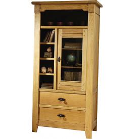 10837 - Meuble de rangement chêne 1 porte vitrée 2 tiroirs 5 niches