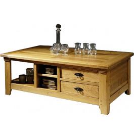 10839 - Table basse 2 tiroirs chêne