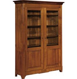 10880 - Buffet vaisselier merisier 2 portes vitrées à cannelures