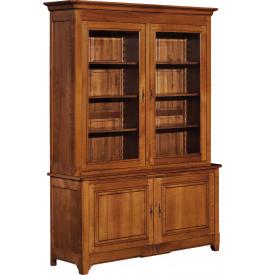 10882 - Bibliothèque merisier 2 corps 2 portes à cannelures