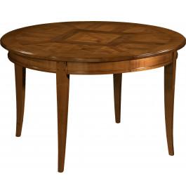 10893 - Table ronde merisier Ø120 marquetée pieds sabre 2 allonges