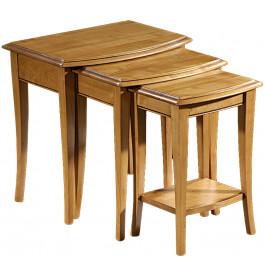 10905 - Tables gigognes merisier pieds sabre 1 tiroir