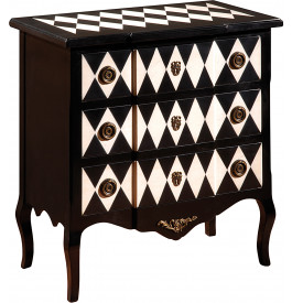 commode 3 tiroirs merisier laqu e noir et blanc. Black Bedroom Furniture Sets. Home Design Ideas