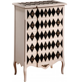commode merisier 5 tiroirs laqu e blanc et noir. Black Bedroom Furniture Sets. Home Design Ideas