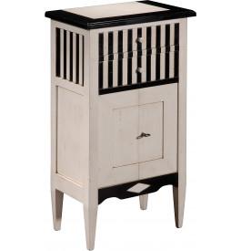 10927 - Meuble d'appoint merisier 2 tiroirs 2 portes laqué blanc et noir