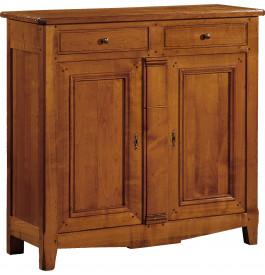10935 - Buffet haut merisier 2 portes 2 tiroirs