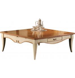 10966 - Table basse carrée merisier laquée 2 tiroirs