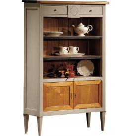 10987 - Petite étagère de rangement merisier laquée 2 tiroirs 2 portes P