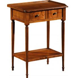 11035 - Table de téléphone merisier 2 tiroirs pieds tournés