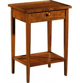 11037 - Table de téléphone merisier 1 tiroir pieds fuseau