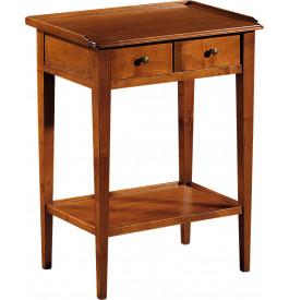 11039 - Table de téléphone merisier 2 tiroirs pieds fuseau
