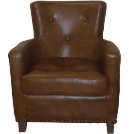 1135 - Fauteuil club Miranda boutonné cuir basane marron