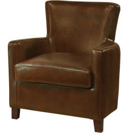 1140 - Fauteuil club British Style Miranda cuir basane marron