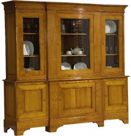 11449 - Buffet chêne 3 grandes portes vitrées, 2 corps
