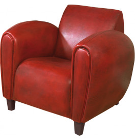 1147 - Fauteuil club British Style Modus cuir basane rouge