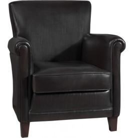 1162 - Fauteuil club droit Mercury cuir basane clouté noir