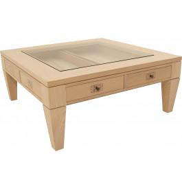 11697 - Table basse carrée chêne 2 tiroirs