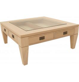 11705 - Table basse carrée chêne 2 tiroirs