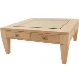 11707 - Table basse carrée chêne 2 tiroirs
