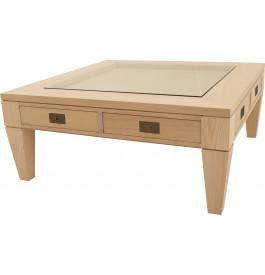 Table basse carrée chêne 2 tiroirs