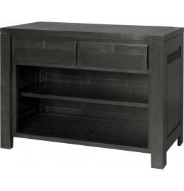 11783 - Console chêne massif taupe 2 tiroirs 1 étagère décor cannelé