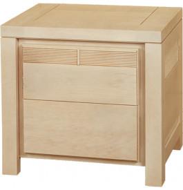 11798 - Chevet chêne naturel 2 tiroirs décor cannelé