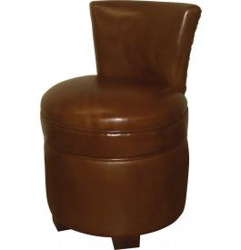 1188 - Pouf avec dossier cuir basane clouté caramel