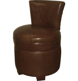 Pouf avec dossier cuir basane clouté chocolat