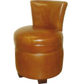 Pouf avec dossier cuir basane clouté miel