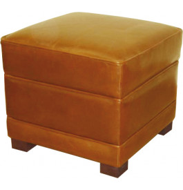 Pouf carré cuir basane miel
