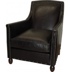 1206 - Fauteuil club St Louis cuir basane clouté noir