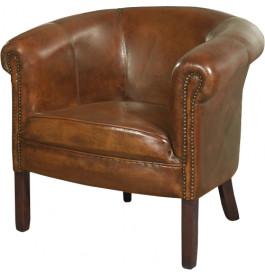 1234 - Fauteuil club cabriolet Texas cuir basane clouté havane