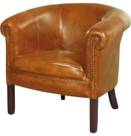 1239 - Fauteuil club cabriolet Texas cuir basane clouté miel