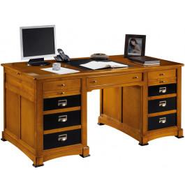 Bureau informatique merisier 5 tiroirs 1 porte laque noire L140