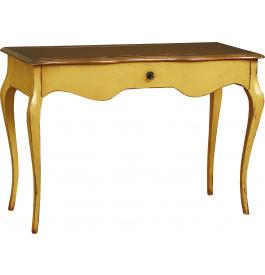 1288 - Table d'écriture crème 1 tiroir pieds galbés
