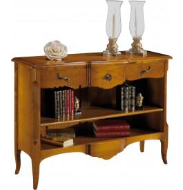 12900 - Petite bibliothèque ouverte galbée 1 étagère 3 tiroirs