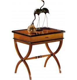 12932 - Table d'appoint rectangulaire 1 tiroir pieds croisés