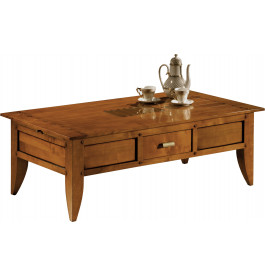 12973 - Table basse rectangulaire 1 tiroir 2 tirettes