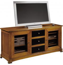 13051 - Meuble TV-Hifi 3 tiroirs 2 portes vitrées
