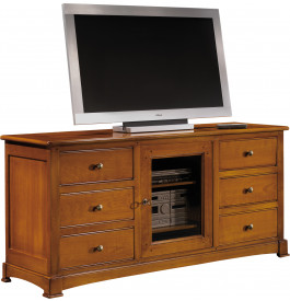 meuble tv hifi 6 tiroirs 1 porte vitr e. Black Bedroom Furniture Sets. Home Design Ideas