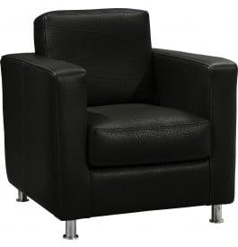 13102 - Fauteuil design cuir et acier Luca noir