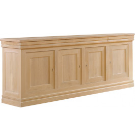 13435 - Buffet chêne naturel 4 portes pied socle