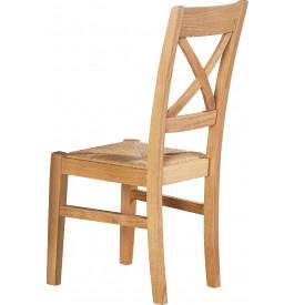 13493 - Chaises chêne clair dossier croisé assise paille (x2)
