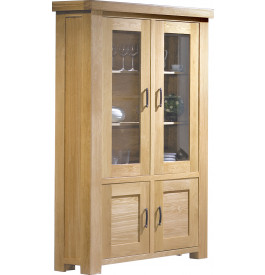 Buffet vaisselier ch ne clair contemporain 2 portes for Buffet chene clair